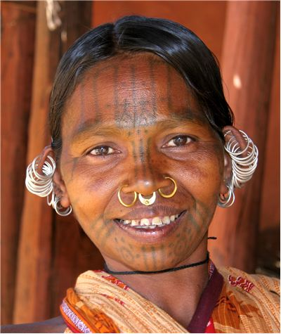 Picture Of Facial Tattoo Of Khond Woman Of India